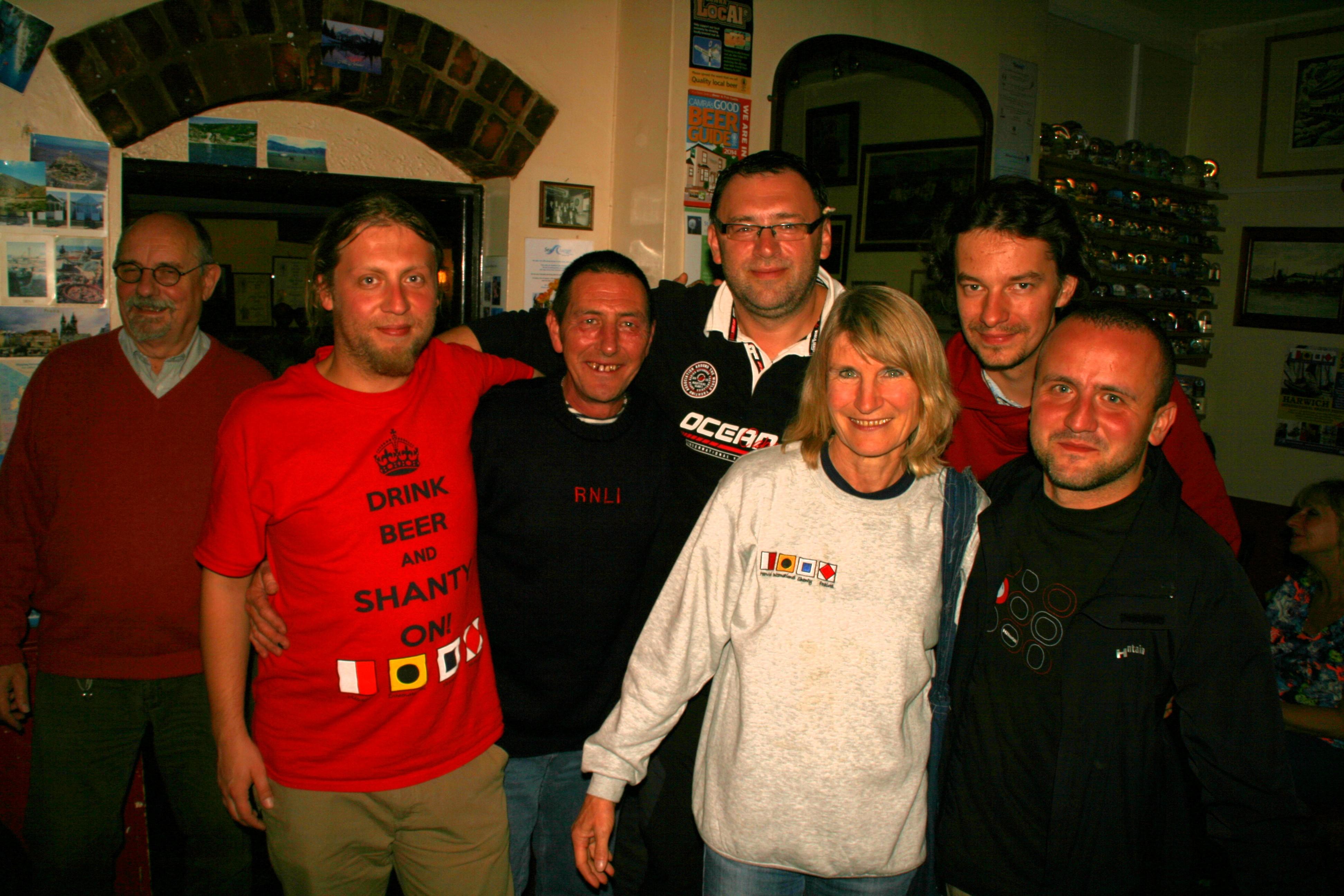 The survivors, including Pam Fitzgerald, Harwich Shanty Festival Diretor