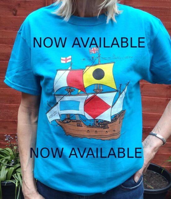 Model wearing 2021 Harwich Shanty Festival T-Shirt